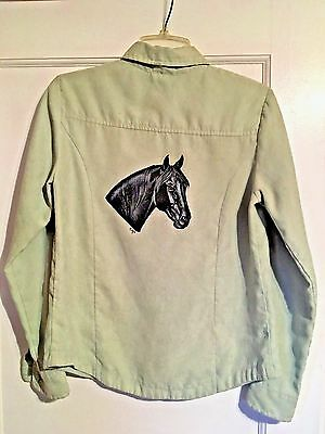 Black Quarter / Morgan / Walker ? Horse Hand Painted On Woman's Blouse