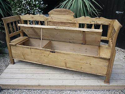 Lovely Old Antique / Victorian Pine Hungarian/monks Box Bench/settle/pew/storage