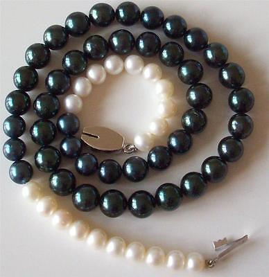 Vintage Retro 1940S Real Cultured Black & White Pearls 18Ct Gold Clasp Necklace