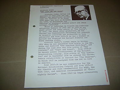 Rare Rediffusion TV Alistair Cooke Lion And The Eagle 1966 UK Press Release