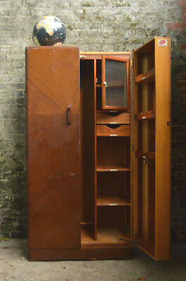 Vtg Wooden Art Deco Fitrobe Train Wardrobe Haberdashery Display Drawers Cabinet