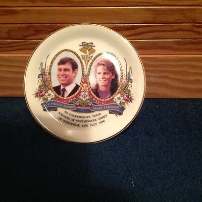 commemorate side plate of Prince Andrew and Sarahs wedding