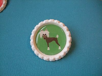 Handmade Chinese Crested Dog Brooch Bottle Cap Badge Puppy Cartoon Green White