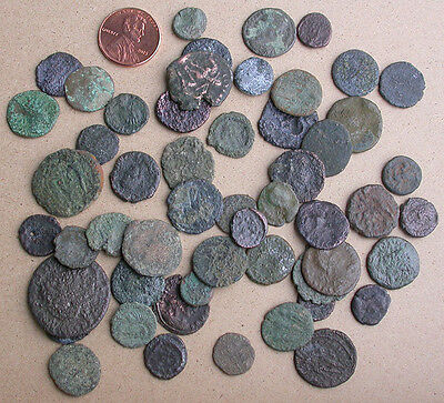 Lot of 50 Ancient Roman Coins - 4th Century A.D.
