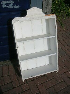 Antique Victorian Solid Pine Wall SHELF UNIT Ex-CUPBOARD Shabby Painted White