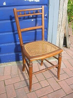 Antique Edwardian Oak BEDROOM CHAIR Good Seat vgc 17.5ins Seat Height