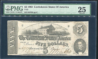 T-53 1862 $5 Five Dollars Csa Confederate States Of America Pmg Very Fine-25