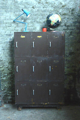 Vintage Industrial Wooden School Lockers Cabinet Cupboard