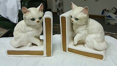 Vintage Lefton white cat bookends book ends, 4518