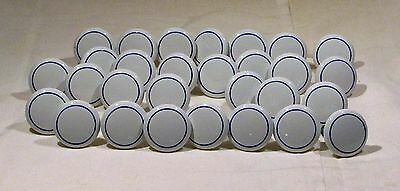 29 Vintage Cabinet Pulls/Knobs/Handles Porcelain/Ceramic White with Blue Stripe