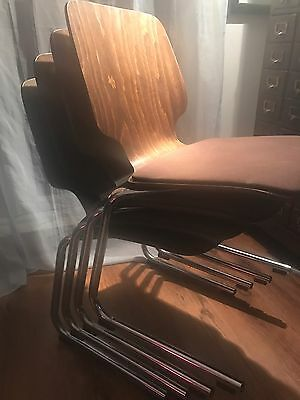 KUSCH CO Dining, Set Of Four Chairs. Retro Antique Vintage Eames Era. Office.