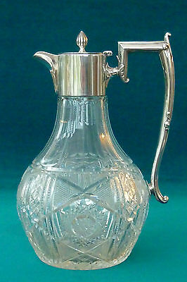 Superb Quality Solid Silver & Hand Cut Glass Claret Jug Sheffield 1921