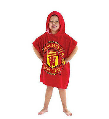 MANCHESTER UNITED Official Kids Hooded Bath Poncho with Club Crest