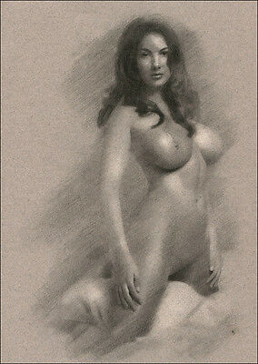 Naked Woman kneeling DRAWING Charcoal ORIGINAL art signed by artist NO RESERVE