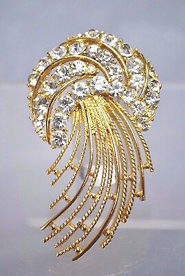 "Vintage Usner ""jelly Fish"" Brooch With Clear Rhinestones And Gold Accents"