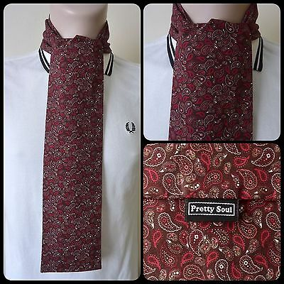 PRETTY SOUL SMALL BROWN PAISLEY HANDMADE COTTON MOD SCARF SCOOTER 60s RETRO