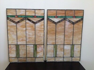 Two Antique Leaded Stained Glass Windows from Chicago Bungalow