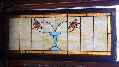 Antique Leaded Stained Glass Transom Window from Chicago Bungalow