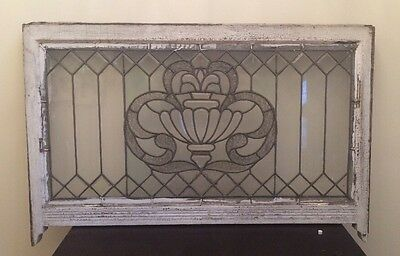 Large Antique Victorian Beveled Leaded Stained Glass Window  Chicago Bungalow