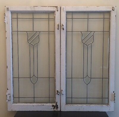 2 Antique Beveled Stained Glass Windows From Chicago Bungalow