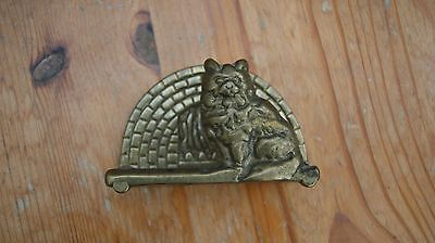 Brass Vintage Cat Letter Rack 3 1/2 inches wide