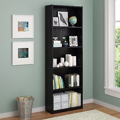 5 Shelf Bookcase Storage Adjustable Bookshelf Furniture Shelving Wood Book Tall
