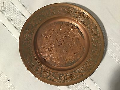 Vintage Hand Engraved Copper Hanging Plate or Plaque Made in Iran