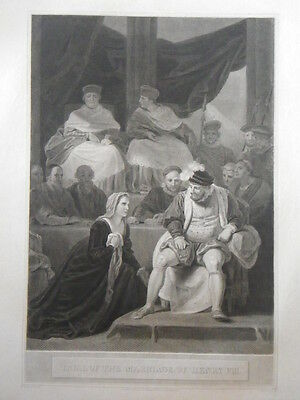 """R. Bowyer Print of """"Trial Of The Marriage Of Henry VIII."""" 1798"""