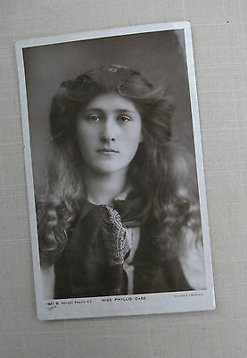 Postcard. A portrait photo of  Miss Phyllis Dare.. A Real Photo. B & W. 1906