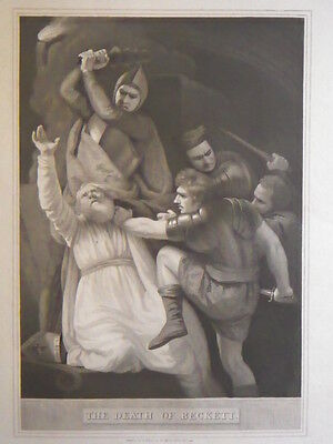 """R. Bowyer Print of """"The Death of Beckett"""" 1793"""