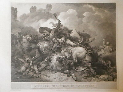 """R. Bowyer Print of """"Richard The First In Palestine"""" 1804"""