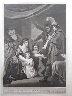 """R. Bowyer Print of """"Lady Eliz. Gray In...Edw. IV. To Protect Her Children."""" 1800"""
