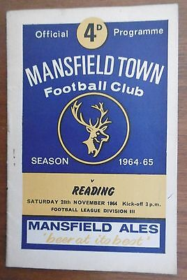 Mansfield Town V Reading Football Programme 28111964