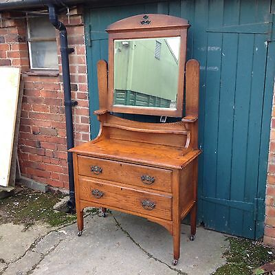 Antique Arts and & Crafts Carved Oak Dressing Table / Chest / Cabinet / Mirror