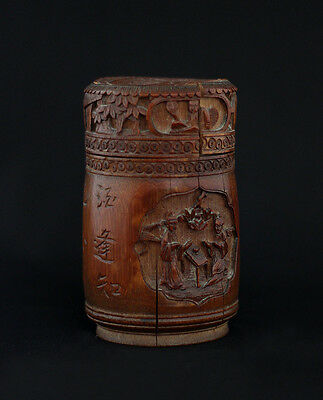 SUPERB 1870s antique Chinese carved bamboo tea caddy, signed