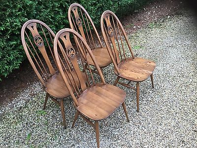 Good Set Of 4 Modern Ercol Quaker Swan Dining Chairs, Clean Condition,