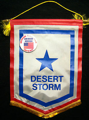 "Operation Desert Storm Service Flag with ""God Bless America"" Button - USA!"
