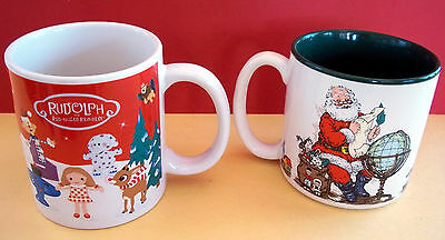 2 Christmas Holiday Porcelain Mugs - Very Ornate - Rudolph & Santa - Excellent