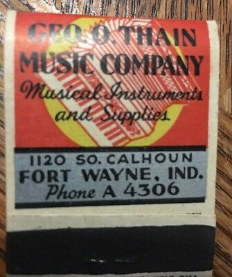 Vintage Matches Matchbook Unused 30's Geo Thain Music Company Ft Wayne IN