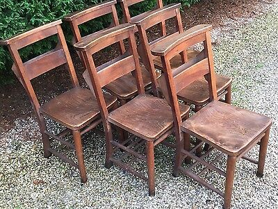 Superb Set Of 6 Vintage Chapel/kitchen Dining Chairs - 32 Available • £495.00