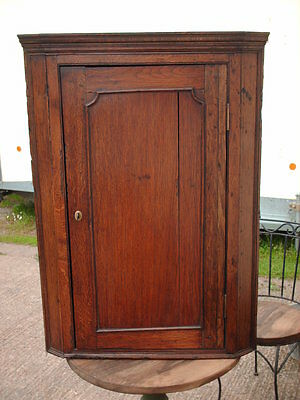 Antique Rustic Oak  Corner Cupboard With Working Lock And Key
