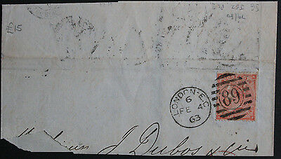 GB 1862 4d Pale Red Plate 3 SG80 on Part Entire with Nice London Duplex Cancel