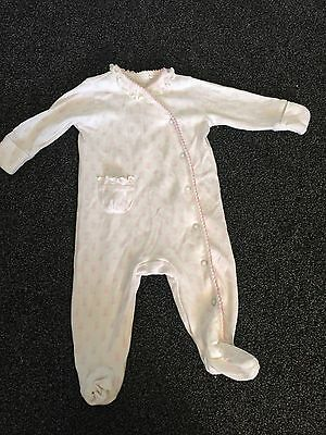 Baby Girl White Sleep suit With Pink Bunnys Up To 3 Months Next