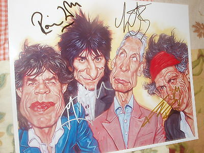 Rolling Stones  Hand Signed  By Jagger Watts Richards Wood 10 X 8  Photo