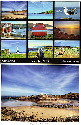 2 Postcards of Alderney-Corblets beach and a Multiview(inc cannon & lighthouse)