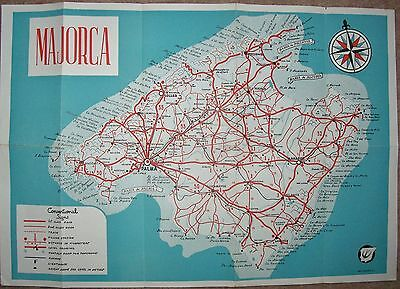 Vintage Map of Majorca,Balearic Islands,Spain