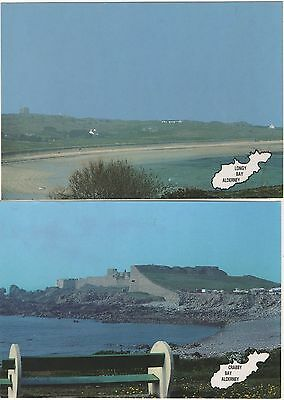 2 Postcards of Alderney- Longy beach & Crabby Bay with Fort Grosnez behind