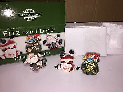 Fitz and Floyd Gifts From Santa Set of 3 Santa Claus Christmas Bag Tumblers New