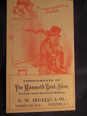 Victorian Trade Card G.w. Ingalls Mammoth Boot Shoe & Trunk House Watertown Ny