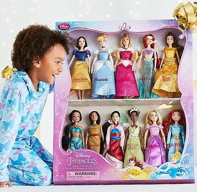 Disney Store Classic 11 Princess Doll Collection Set Deluxe 2016 Belle Ariel Jas
